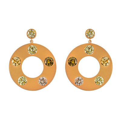 NEIL LANE COLORED DIAMOND, 18K YELLOW GOLD HOOP EARRINGS