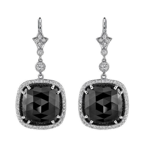 NEIL LANE BLACK SPINEL, DIAMOND, PLATINUM EARRINGS