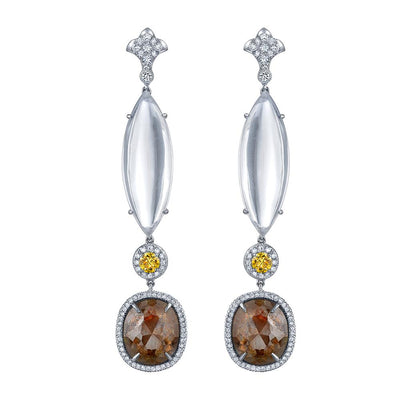 NEIL LANE COLORED DIAMOND, MOONSTONE, PLATINUM EARRINGS