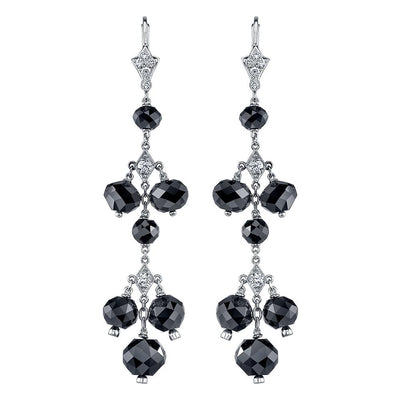 NEIL LANE WHITE & BLACK DIAMOND, PLATINUM EARRINGS