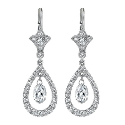 NEIL LANE BRIOLETTE DIAMOND, PLATINUM EARRINGS
