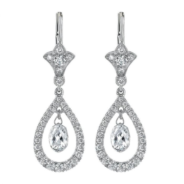 BRIOLETTE & ROUND DIAMOND, PLATINUM EARRINGS