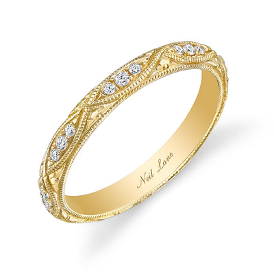 Diamond, 18k Yellow Gold Engraved Wedding Band