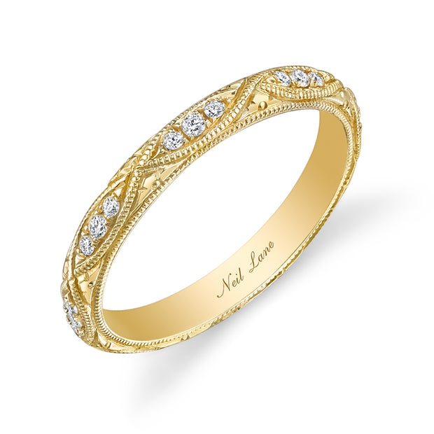 Neil Lane Couture Diamond, 18K Yellow Gold Engraved Eternity Band