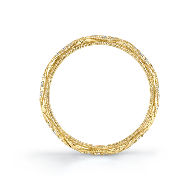 NEIL LANE DIAMOND, 18K YELLOW GOLD ENGRAVED ETERNITY BAND
