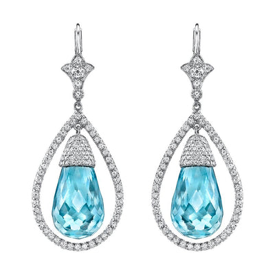 NEIL LANE AQUAMARINE, DIAMOND, PLATINUM EARRINGS