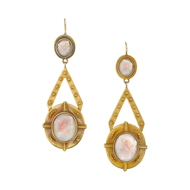 Pair of Victorian Shell Cameo, Yellow Gold Earrings