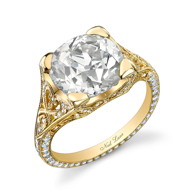 NEIL LANE ROUND BRILLIANT-CUT DIAMOND, 18K YELLOW GOLD RING