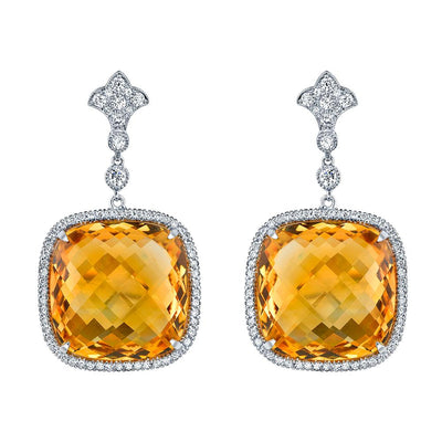 NEIL LANE CITRINE, DIAMOND, PLATINUM EARRINGS
