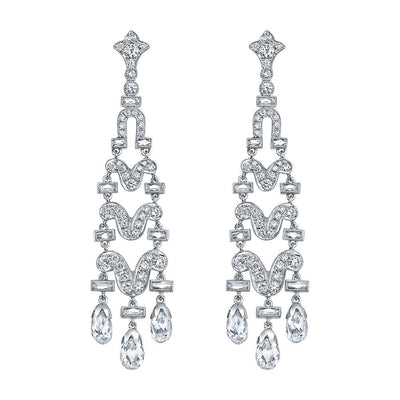 NEIL LANE DIAMOND, PLATINUM CHANDELIER EARRINGS