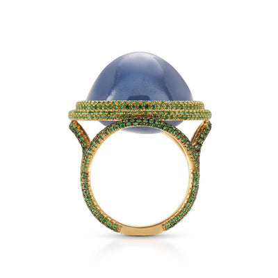 Neil Lane Couture Ceylon Star Sapphire, Tsavorite Garnet, 18K Gold Ring