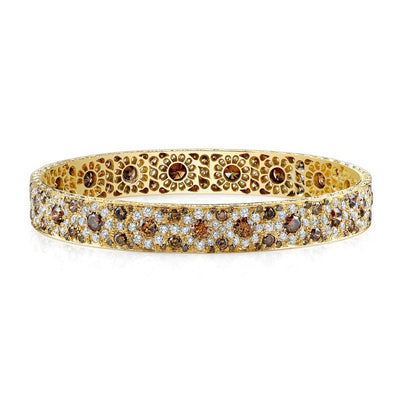 FLORAL COLORED DIAMOND, 18K YELLOW GOLD BANGLE BRACELET