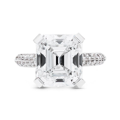 ASSCHER-CUT DIAMOND, PLATINUM ENGAGEMENT RING