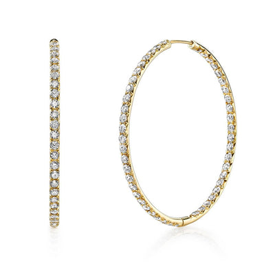 Pair of Diamond, 18k Yellow Gold Hoop Earrings