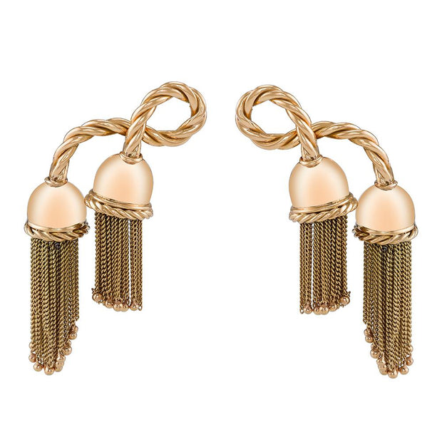 MID-CENTURY YELLOW GOLD TASSEL EARRINGS