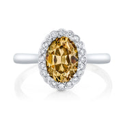 NEIL LANE COUTURE DESIGN FANCY COLOR OVAL BRILLIANT-CUT DIAMOND, PLATINUM RING