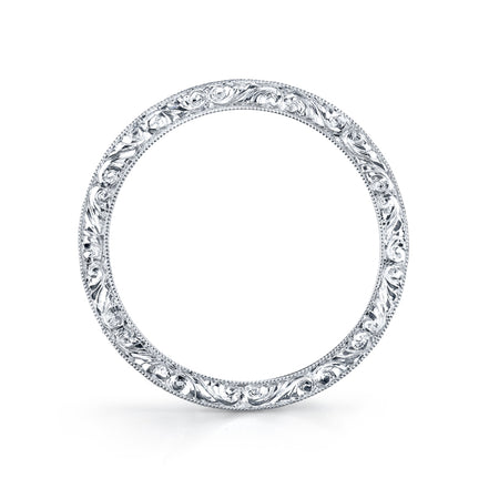 French-Cut Diamond, Platinum Wedding Band