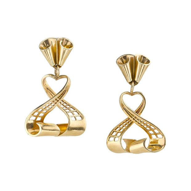 Pair of Retro 14k Yellow Gold Earrings