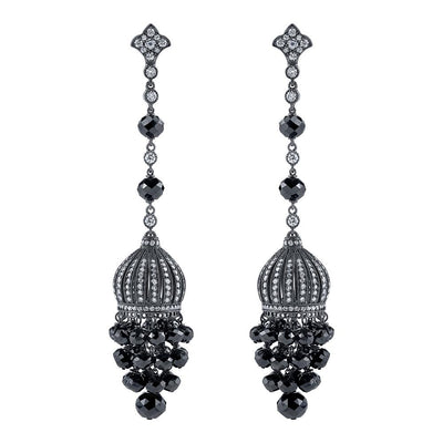NEIL LANE BLACK & WHITE DIAMOND, PLATINUM PENDANT EARRINGS