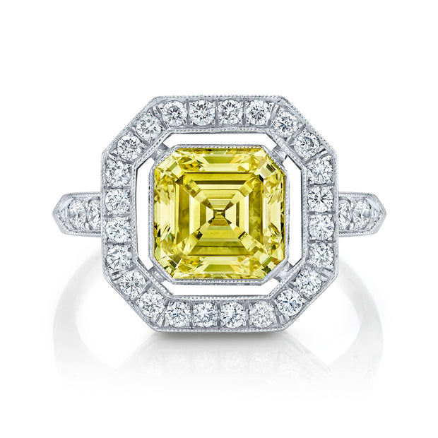 NEIL LANE FANCY YELLOW COLOR SQUARE EMERALD-CUT DIAMOND, PLATINUM RING