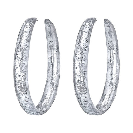 NEIL LANE 14K WHITE GOLD HAND HAMMERED HOOP EARRINGS