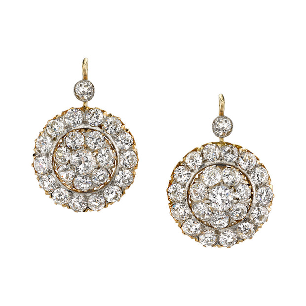 ANTIQUE OLD EUROPEAN-CUT DIAMOND, 18K YELLOW GOLD CLUSTER EARRINGS