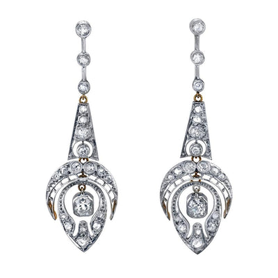 VINTAGE DIAMOND, PLATINUM, GOLD EARRINGS