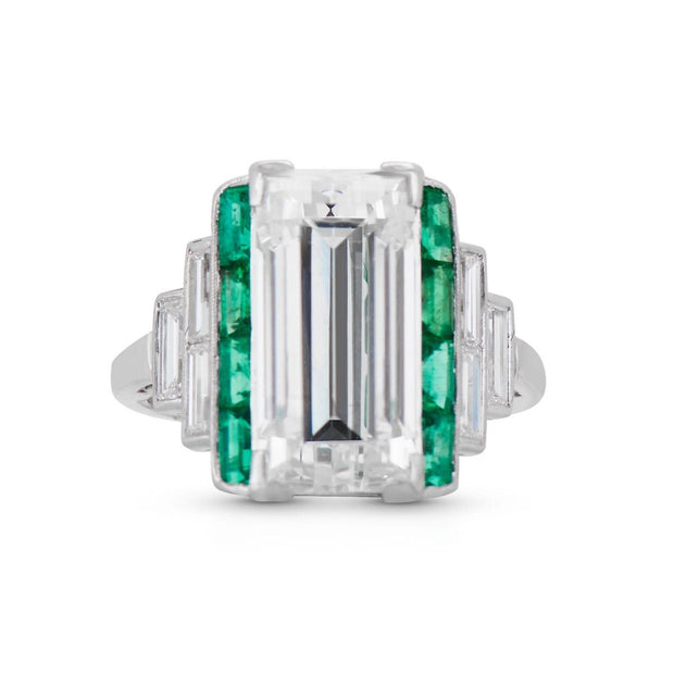 ART DECO DIAMOND, EMERALD, ENGAGEMENT RING