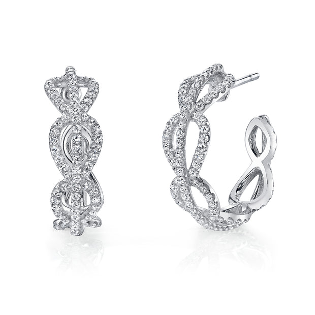 NEIL LANE DIAMOND, 18K WHITE GOLD HOOP EARRINGS