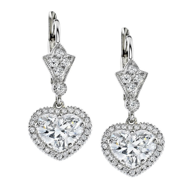 NEIL LANE HEART-SHAPED DIAMOND, PLATINUM EARRINGS
