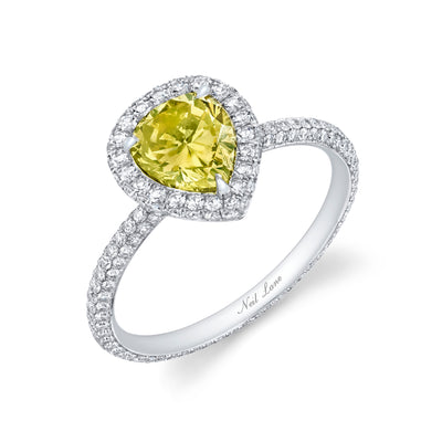 Neil Lane Couture Design Fancy Color Pear Brilliant-Cut Diamond, Platinum Ring