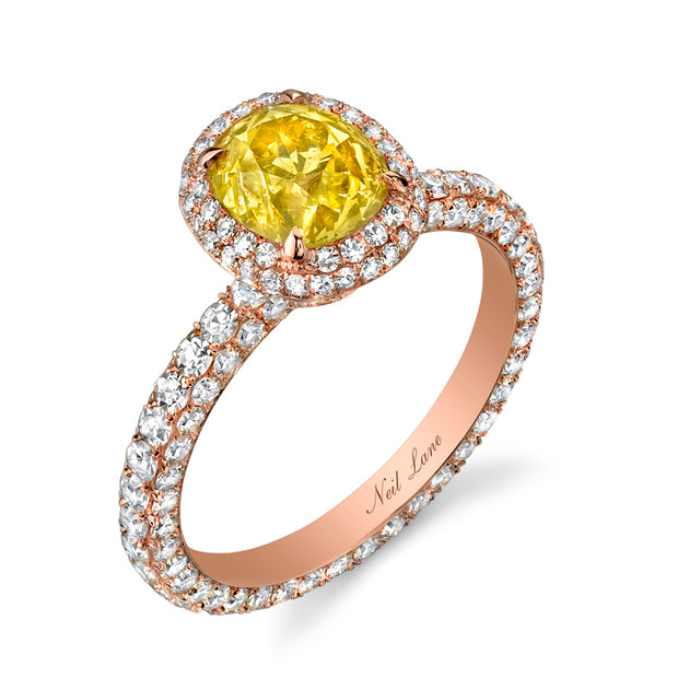 Neil Lane Couture Design Fancy Color Old Mine Brilliant-Cut Diamond, 18K Rose Gold Ring
