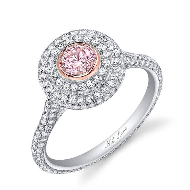 NEIL LANE LIGHT PINK DIAMOND, PLATINUM RING