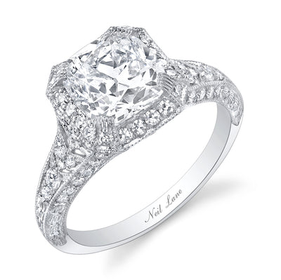 NEIL LANE COUTURE DESIGN CUSHION CUT DIAMOND, PLATINUM RING