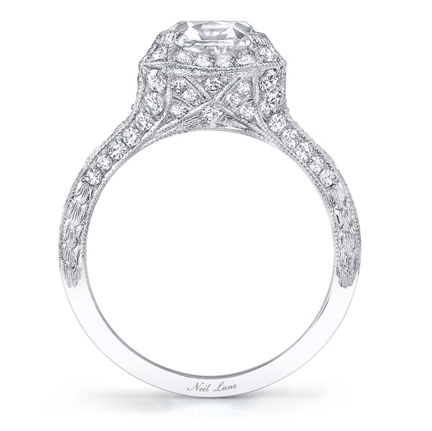 NEIL LANE CUSHION CUT DIAMOND, PLATINUM RING