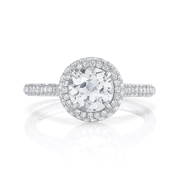 NEIL LANE OLD EUROPEAN CUT DIAMOND, DOUBLE HALO PLATINUM RING
