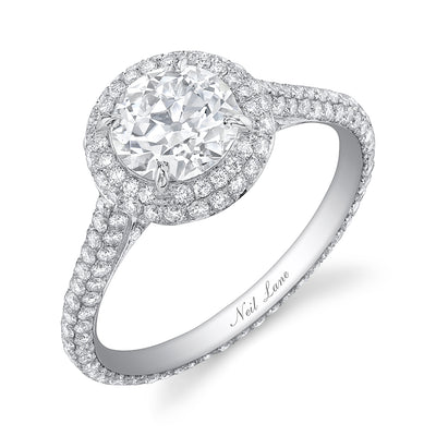 NEIL LANE COUTURE DESIGN OLD EUROPEAN CUT DIAMOND, DOUBLE HALO PLATINUM RING