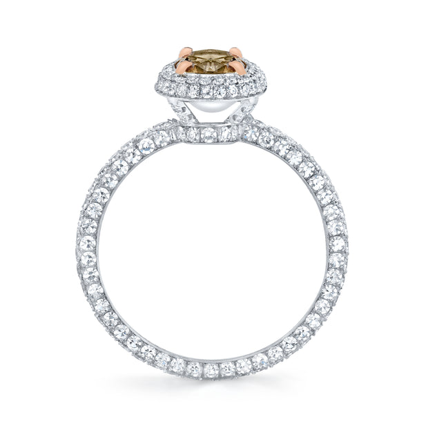NEIL LANE FANCY COLOR OVAL BRILLIANT-CUT DIAMOND, PLATINUM RING
