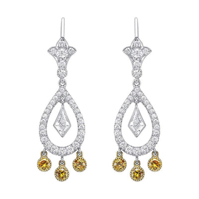 NEIL LANE FANCY COLOR YELLOW & WHITE DIAMOND, PLATINUM EARRINGS