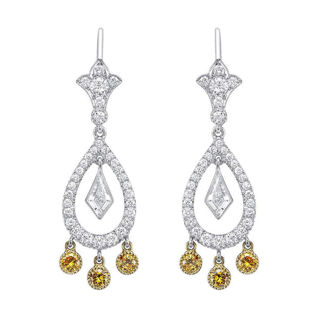 Neil Lane Couture Fancy Color Yellow & White Diamond, Platinum Earrings