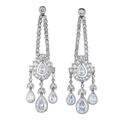 ART DECO DIAMOND, PLATINUM CHANDELIER EARRINGS