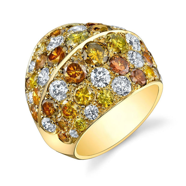 COLORFUL DIAMOND, YELLOW GOLD RING