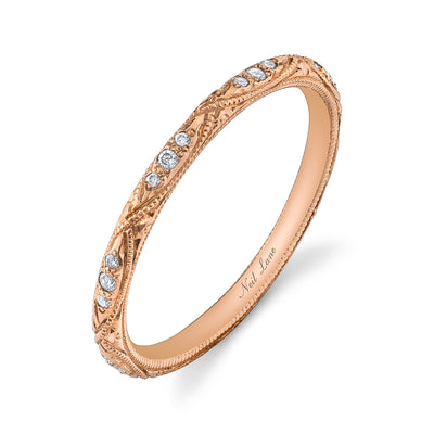 Rose Gold Hand Engraved Diamond Wedding Band