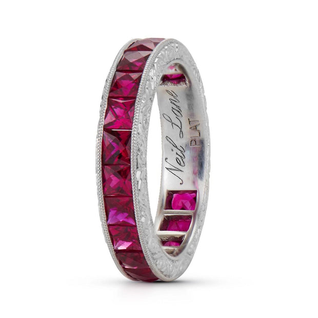 FRENCH-CUT RUBY, PLATINUM ETERNITY BAND