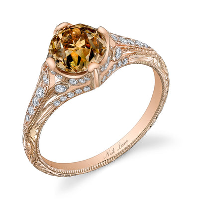NEIL LANE FANCY COLOR OLD MINE BRILLIANT-CUT DIAMOND, 18K ROSE GOLD RING