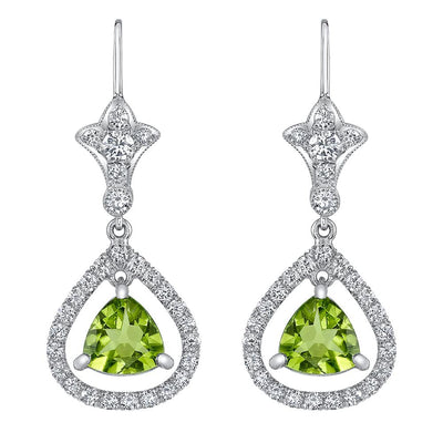 NEIL LANE PERIDOT, DIAMOND, PLATINUM EARRINGS