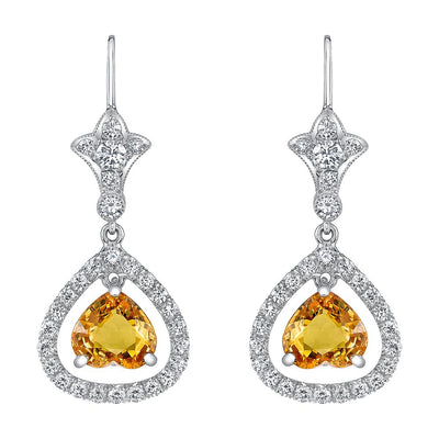 NEIL LANE YELLOW SAPPHIRE, DIAMOND, PLATINUM EARRINGS