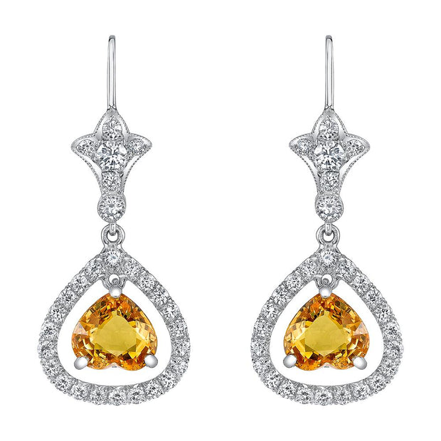 Pair of Yellow Sapphire, Diamond, Platinum Earrings