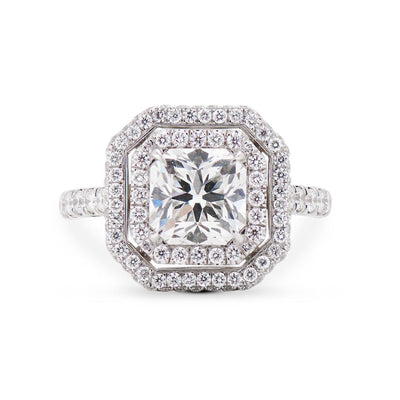 NEIL LANE DESIGN SQUARE RADIANT DIAMOND, PLATINUM ENGAGEMENT RING