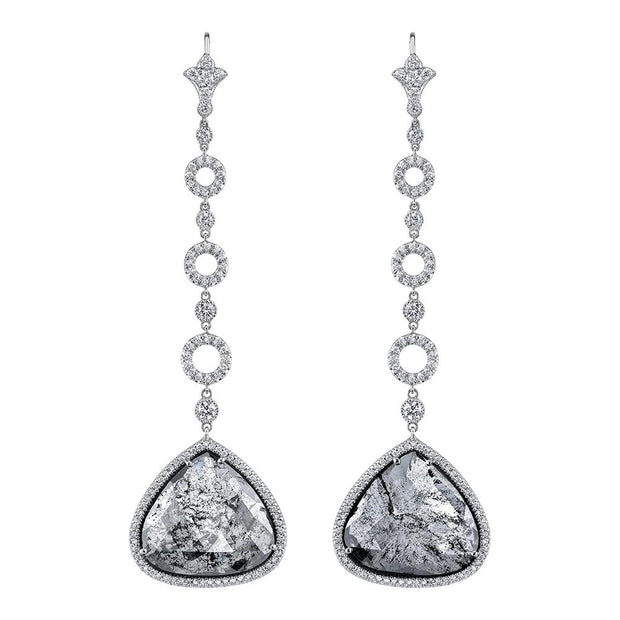 NEIL LANE WHITE & GREYISH-BLACK DIAMOND, PLATINUM PENDANT STYLE EARRINGS